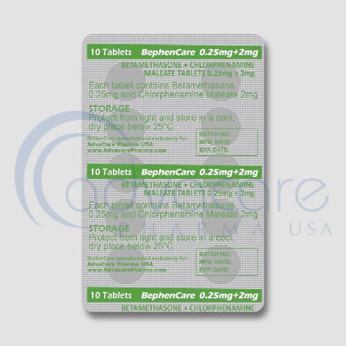 Betamethasone + Chlorphenamine Maleate Tablets Manufacturer 2