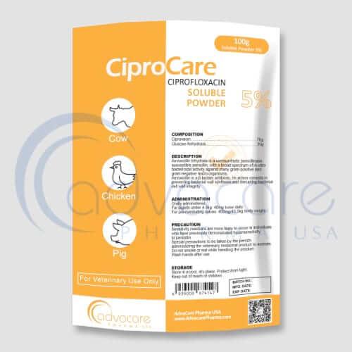 Polvo Soluble de Ciprofloxacina