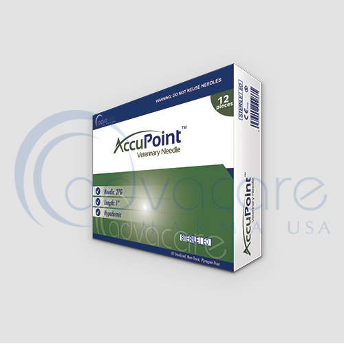 a box of advacare pharma usa AccuPoint Injection Instruments Veterinary Needle