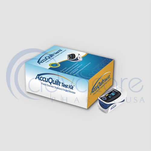 a box of Advacare Pharma AccuQuik Pulse Oximeter with device our of the box