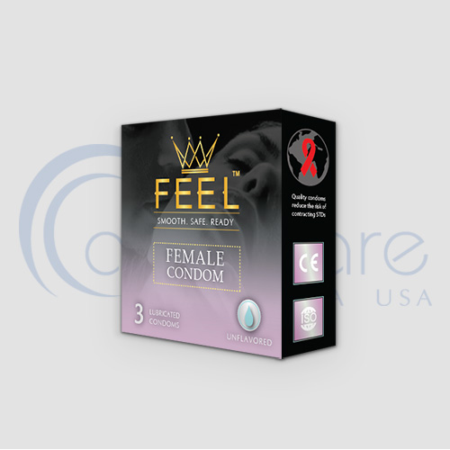 a box of 3 Female Condoms from AdvaCare Pharma USA FEEL division