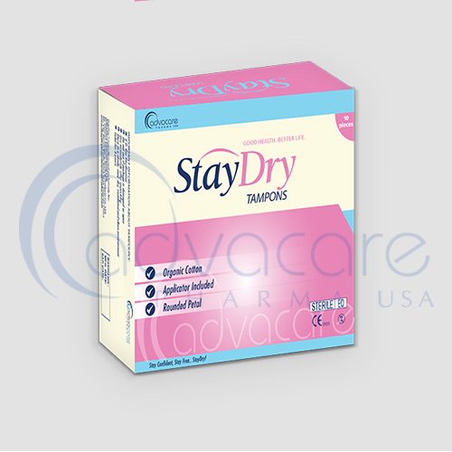 a box of advacare pharma usa StayDry Incontinence Products Tampons
