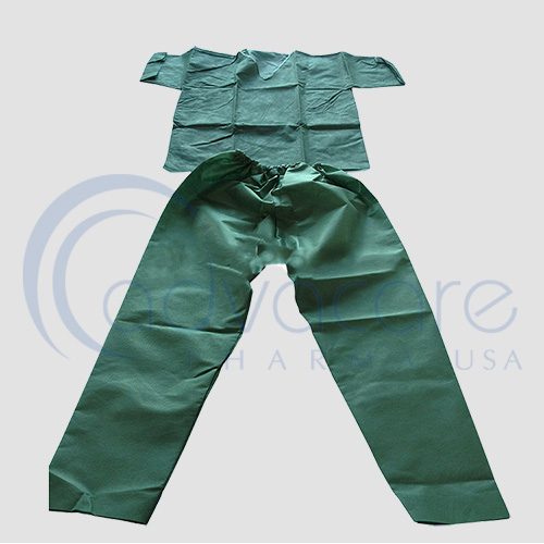 an unpacked advacare pharma usa StaySafe Medical Clothing Disposable Medical Scrub with shirt and pants