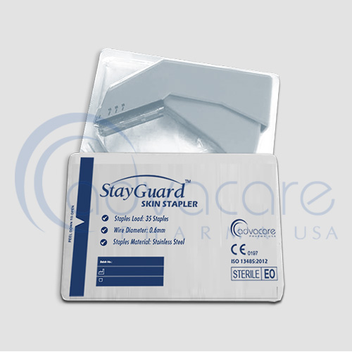 two pouches of advacare pharma usa StayGuard Skin and Wound Care Skin Stapler