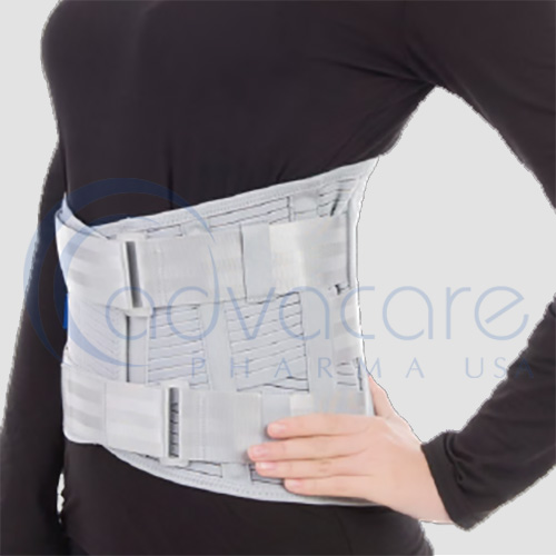 a woman wearing an advacare pharma usa StayGuard Skin and Wound Care Medical Elastic Lumbar Corset