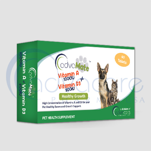 a 60 tablets box of AdvaMate Vitamin A + Vitamin D3 pet health supplement for bone healthy and growth support