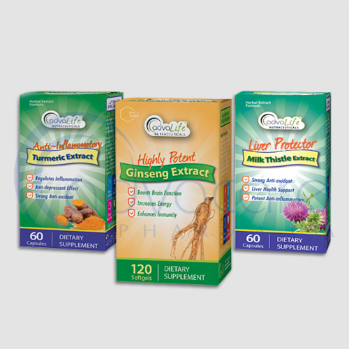 Herbal extract supplements packaging